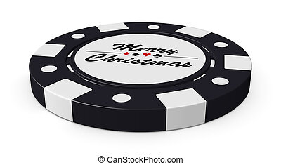 Merry Christmas black casino chip