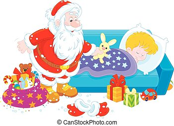 Santa with gifts for a child - The night before Christmas,...
