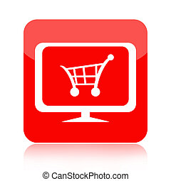 Online store icon with shopping cart on computer monitor...