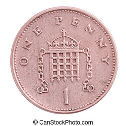 One penny coin isolated over white background