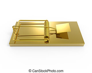 3d Gold mousetrap - 3d render of a gold mousetrap