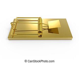 3d Gold mousetrap - 3d render of a gold mousetrap