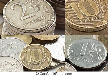 Russian ruble coins closeup Macro, studio photo