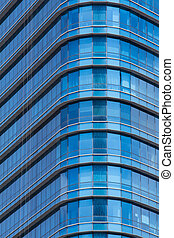 Abstract Blue office windows glass