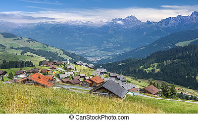 picturesque village in the Swiss Alps