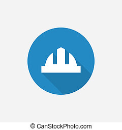 construction helmet Flat Blue Simple Icon with long shadow,...