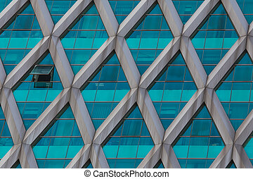 Office building structure built by green glass panel,...