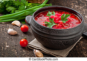 Ukrainian Russian vegetable borsch - Traditional Ukrainian...