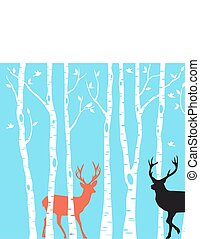 Reindeer Christmas card, vector - Reindeer with birch tree...