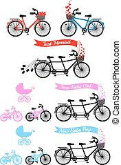 Baby shower with tandem bicycle and childrens bike and...