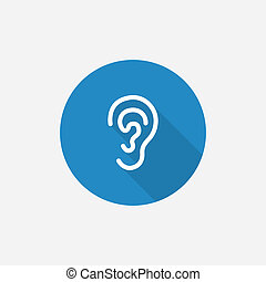 ear Flat Blue Simple Icon with long shadow - ear Flat Blue...