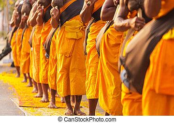 monjes, en, Tailandia,