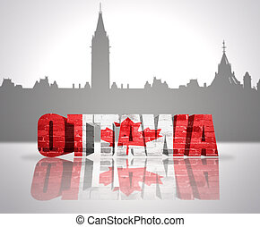 View of Ottawa - Word Ottawa with national flag of Canada...