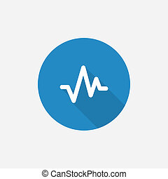 pulse Flat Blue Simple Icon with long shadow, isolated on...
