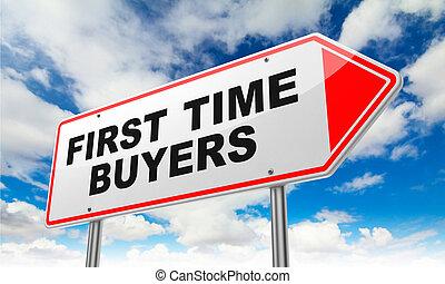 compradores, señal, rojo, tiempo, camino, primero