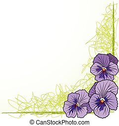 border with  violet pansies