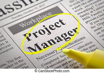 Project Manager Jobs in Newspaper Job Search Concept