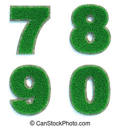 Digits 7, 8, 9, 0 of Green Lawn. - Digits 7, 8, 9, 0 - Set...
