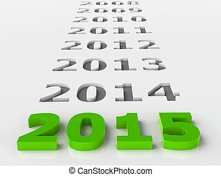 2015 past represents the new year 2015, three-dimensional...