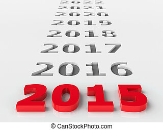 2015 future represents the new year 2015, three-dimensional...