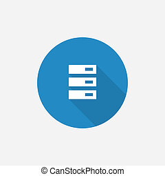 server Flat Blue Simple Icon with long shadow, isolated on...