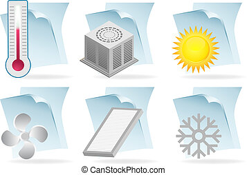 air conditioner document - heating and cooling icon set on...