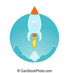 Space rocket flying in sky, flat design colored illustration
