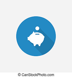 moneybox piggy Flat Blue Simple Icon with long shadow,...