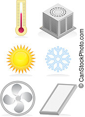 air conditioner set - heating and cooling icon set.