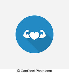 heart with muscle arms Flat Blue Simple Icon with long...