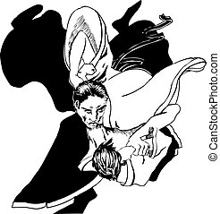 Aikido - two men fighting.