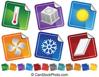 Air Conditioner Stickers - Heating and cooling themed...