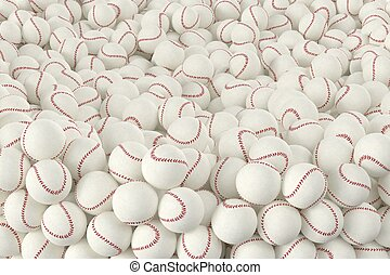 Different Baseballs - 3D computer rendered illustration the...
