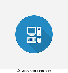 computer Flat Blue Simple Icon with long shadow, isolated on...