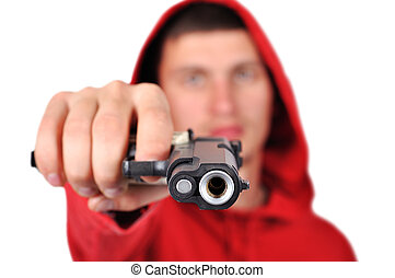 robber holding gun on a white background
