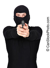 thug with gun - thug in mask and gun in his hand