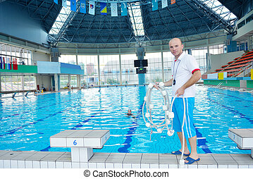 help and rescue on swimming pool - help and rescue action in...
