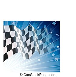 Checkered flag, blowing in the wind. Eps8. CMYK. Organized...