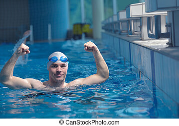 swimmer athlete - health and fitness lifestyle concept with...