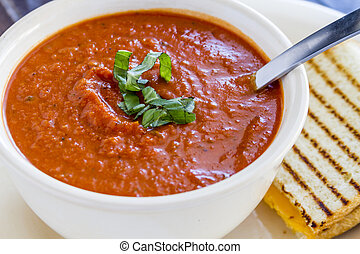 Fresh Homemade Tomato Soup - Homemade tomato and basil soup...