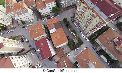 Aerial perspective of apartments - Fly over slide shot from...