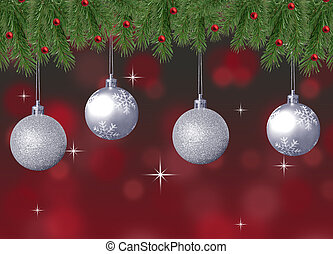 silver balls with pine branch and red abstract background...