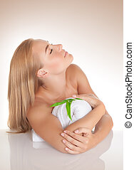 Spa concept - Portrait of cute girl with closed eyes...