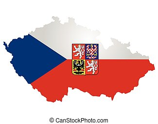 Czech Flag - Flag and crest of the Czech Republic overlaid...