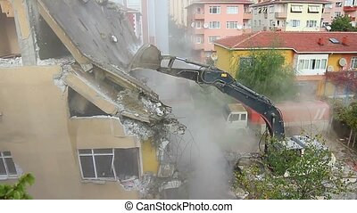 Dismantling of a house building - Istanbul is redeveloping...