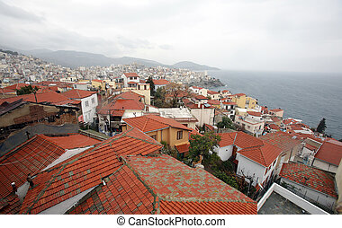 A view of the coast city Kavala in Greece.