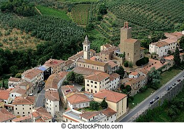 Vinci-Italy - aerial view of Vinci, Tuscany-Italy