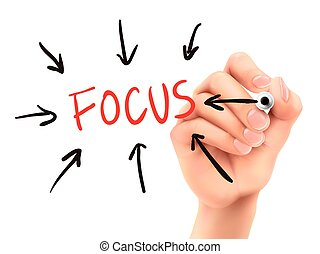 focus word written by 3d hand over white background