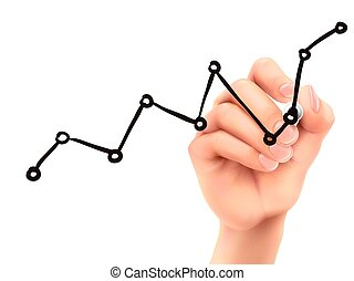 growing chart drawn by 3d hand over white background