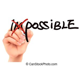 3d hand turning the word impossible into possible
